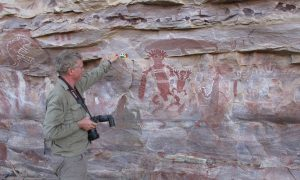 PVeth recording rock art panels on Forrest River Sept 2016